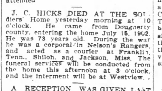 J. C. Hicks-1st obit-Atlanta Constitution-p.5-26 August 1905