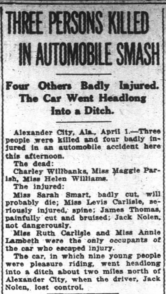 Nolen, Jack auto accident. The Atlanta Constitution. Mon. April 2, 1917. page 6.