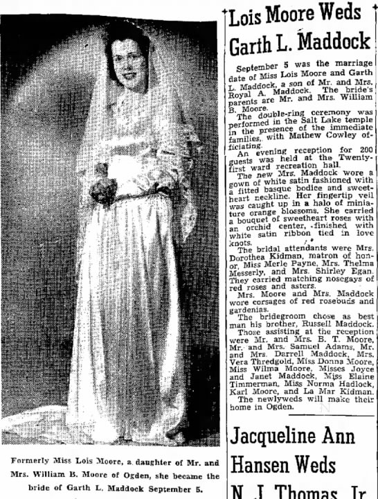 Lois Moore Weds Garth L. Maddock in 1947