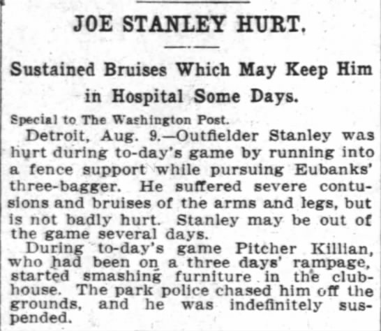 Article in The Washington Post 10 Aug 1906 page 8-Joe Stanley Hurt