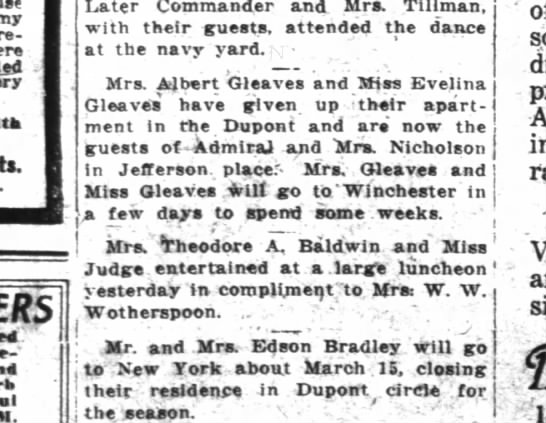 Guests of Nicholsons and then off to Winchester. WPost 3/1/1916