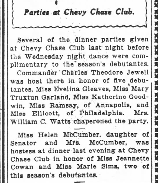 5 Debs. Maybe Cohen came for Miss Ellicott? (12/9/1915 WPost)
