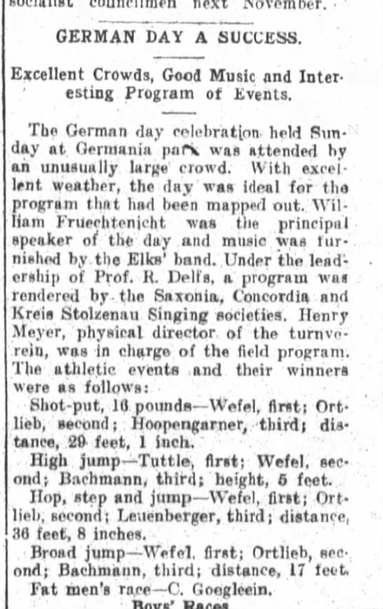 German Day, The Fort Wayne Sentinel, Mon. Aug. 25, 1913, p.2