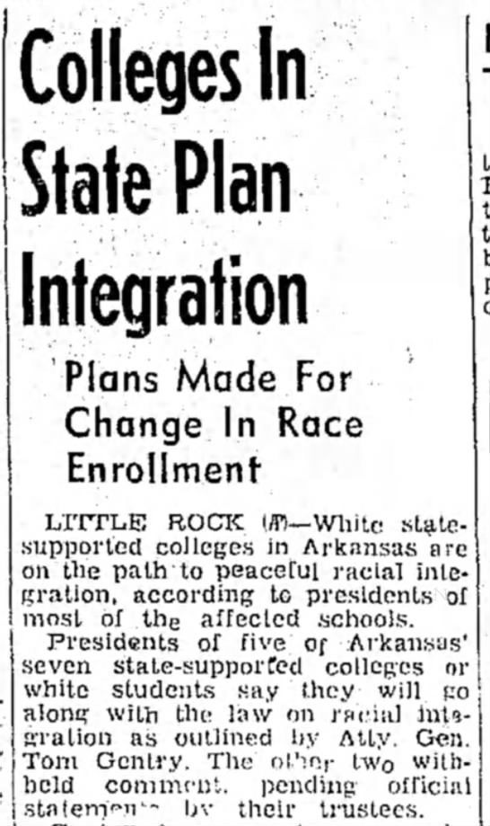 Arkansas Colleges to Be Racially Integrated
