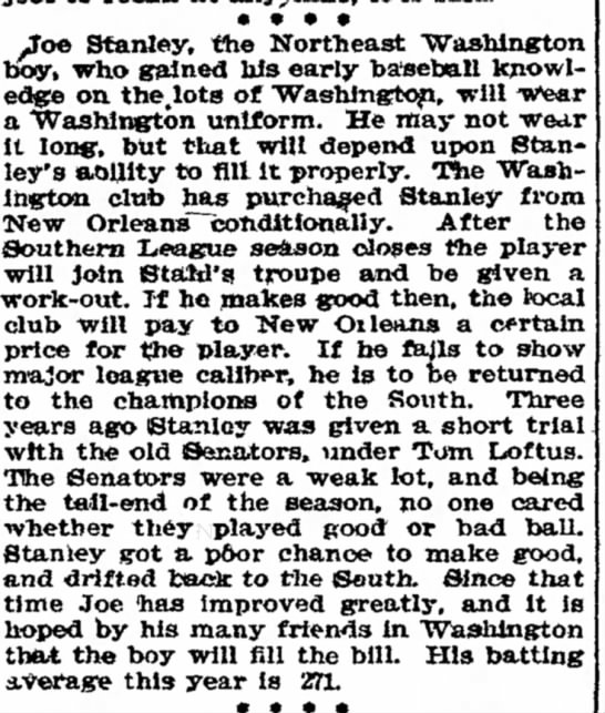 Article in The Washington Post 22 Aug 1905 page 7-Joe Stanley the Northeast Wash. boy