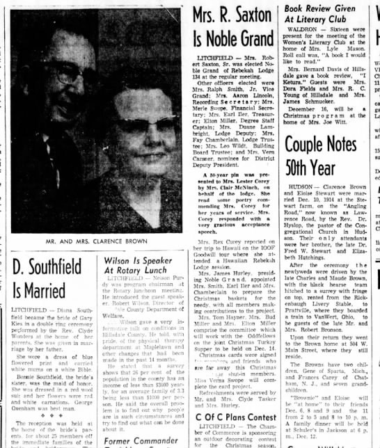The Hillsdale Daily News - 4 Dec 1964 - Mr and Mrs Clarence Brown