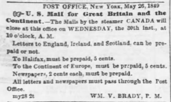 Paying for mail to Ireland May 26, 1849