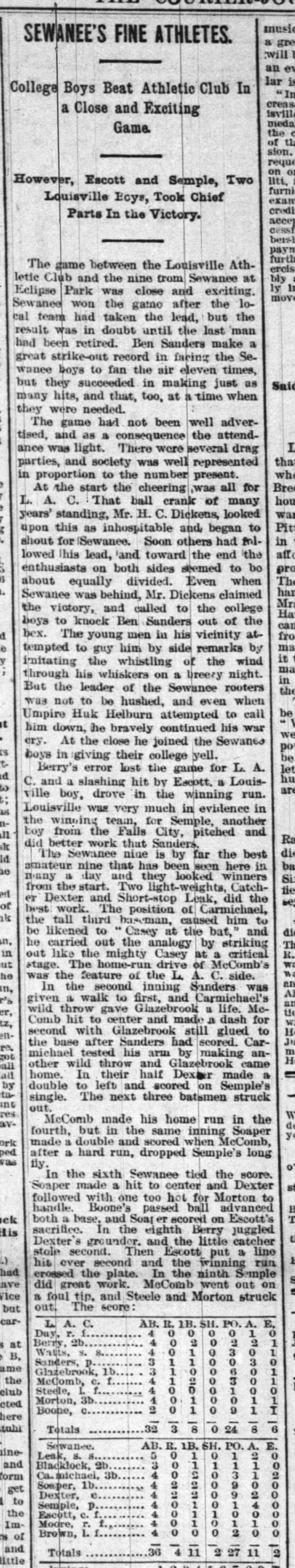 """...striking out like the mighty Casey""  Louisveill Courier-Journal 10 June 1894 p 5"