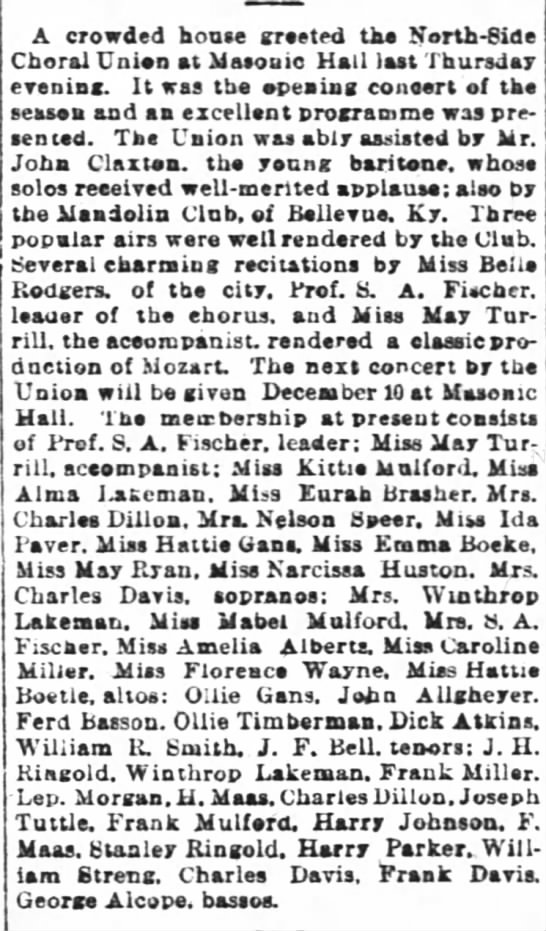 Ferd Basson, bass, in musical event 25 Oct 1891 Enquirer
