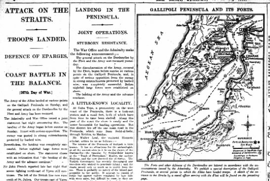 Land campaign begins at Gallipoli