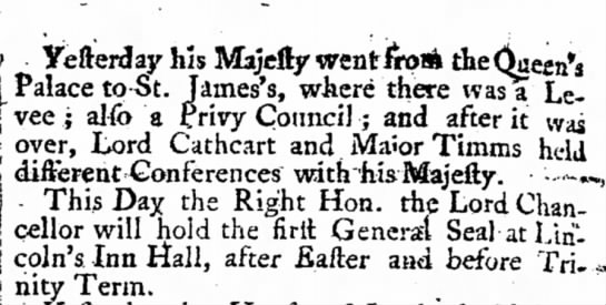 London Gazett 1777 May 15th - Lord Cathcart and His Magisty