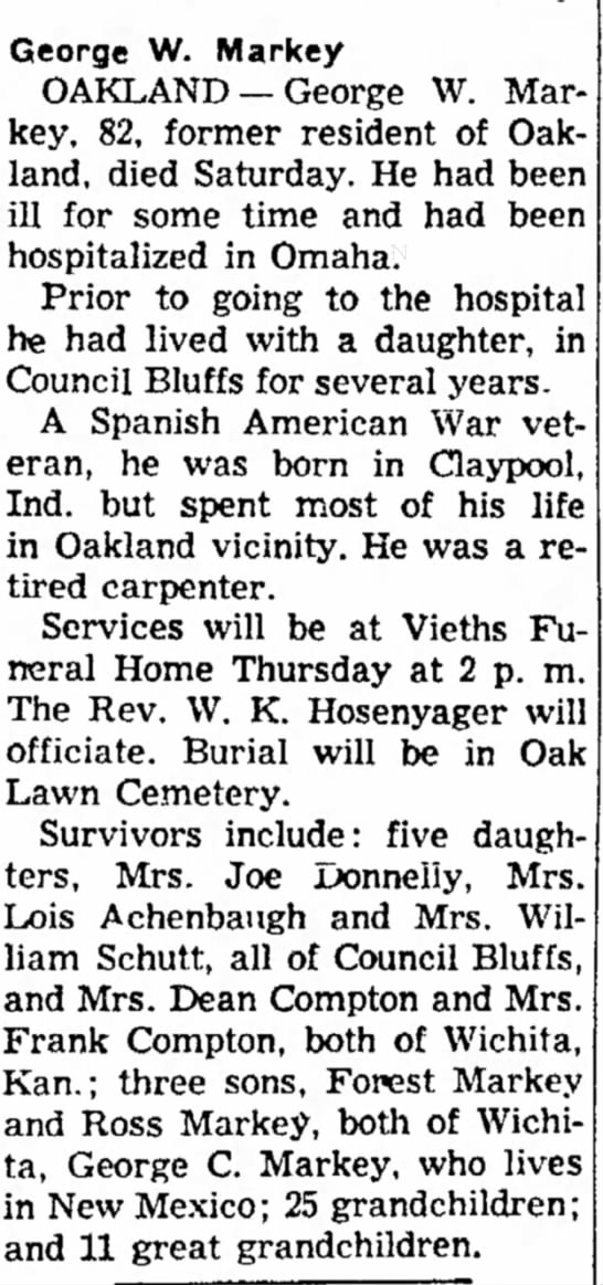 Obituary for George W. Markey 6 May 1955