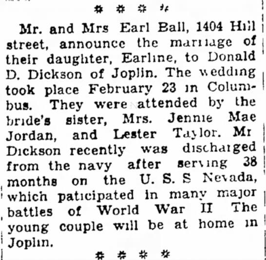 Earline Lewis Dickson wedding Joplin Globe 3 Mar 1946