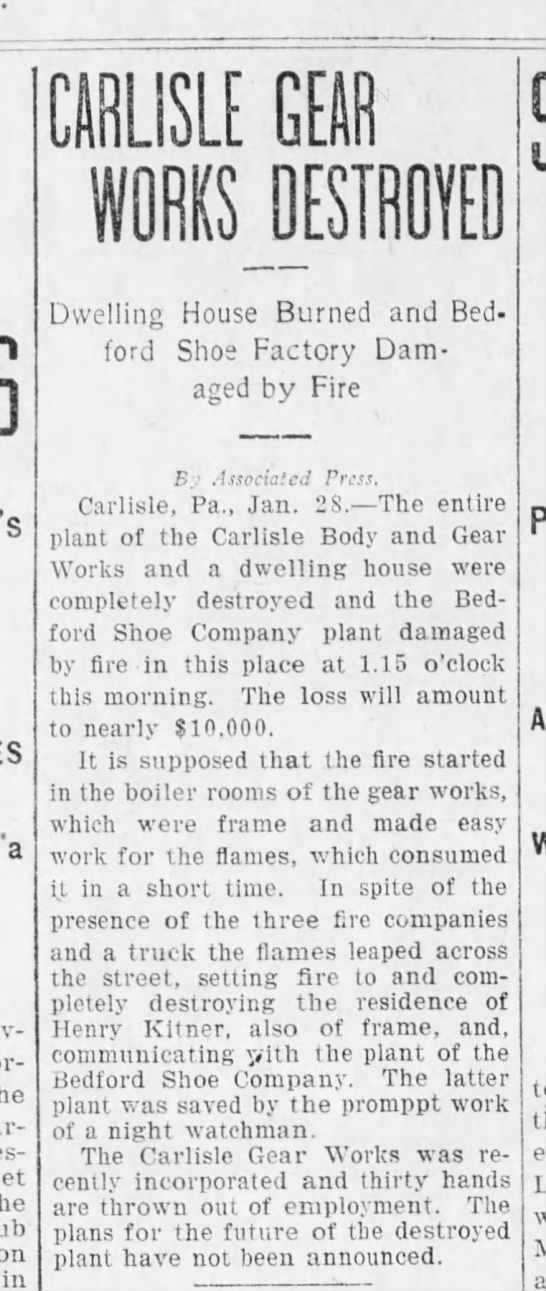 Carlisle Gear destroyed by fire 1905