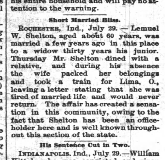Lemuel Shelton marriage info 1892.