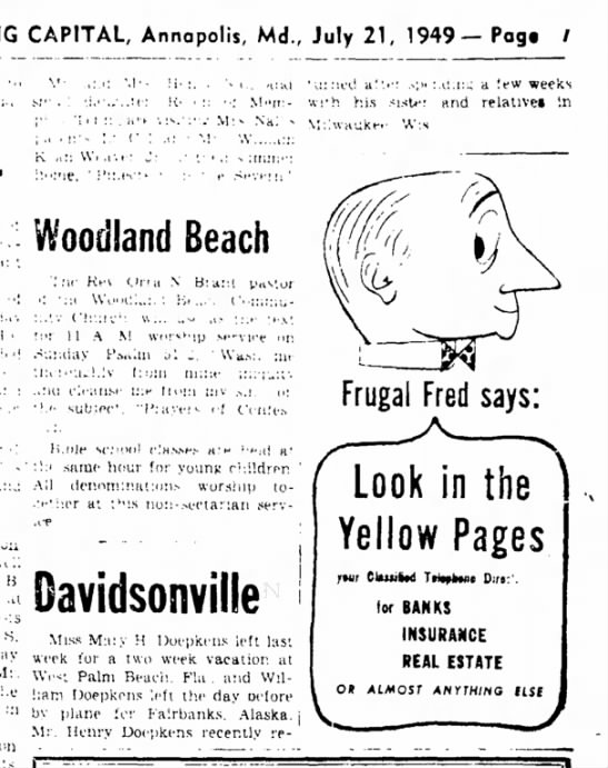 The Evening Capital, (Annapolis, MD)  July 21, 1949, Page 7