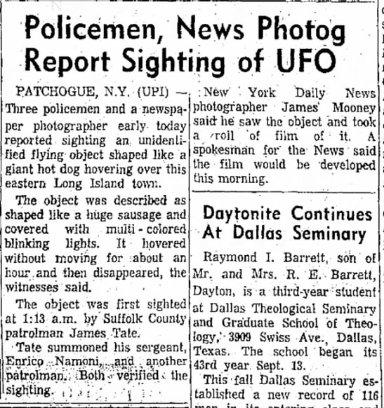 UFO, Patchogue, 1966