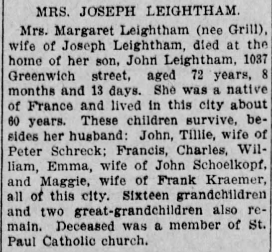 Margaret Grill Obit Reading Times 25 June 1909 p5