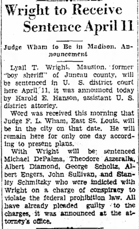 Wright to be Sentenced April 11 - 1930