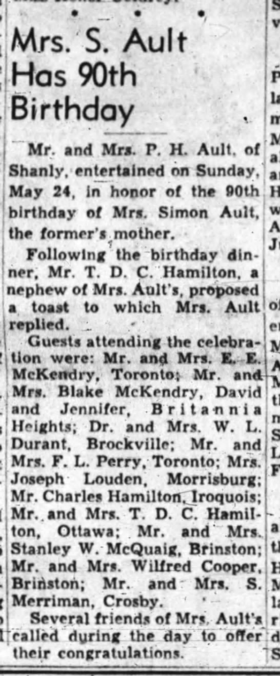 Mrs. Simon Ault's 90th birthday (Jennifer was there), 28 May 1953