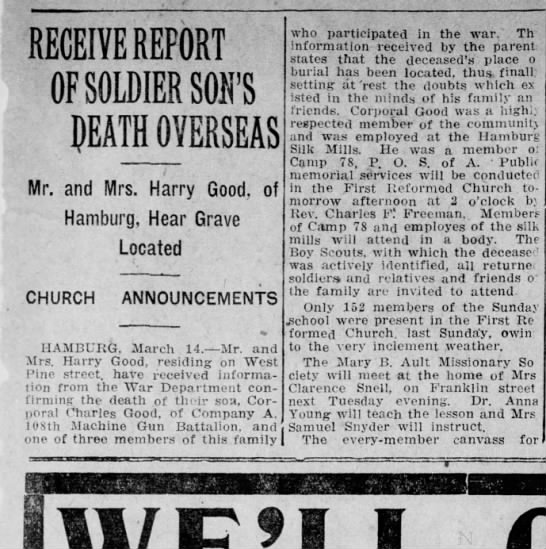 son of Harry Good, Charles Good killed in WW1