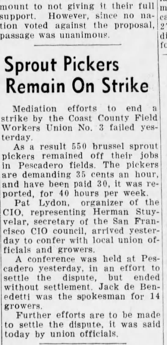 Sprout pickers strike in Pescadero