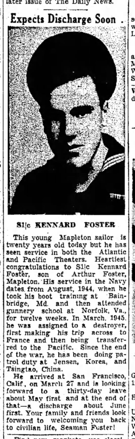 Kennard Foster-Navy-TDN-p.8-10 Apr 1946