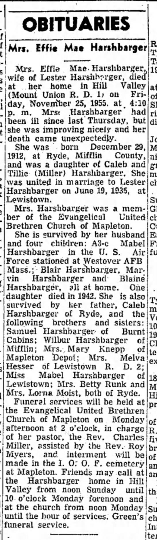 Effie Mae Harshbarger-Obit-TDN-p.5-26 Nov 1955