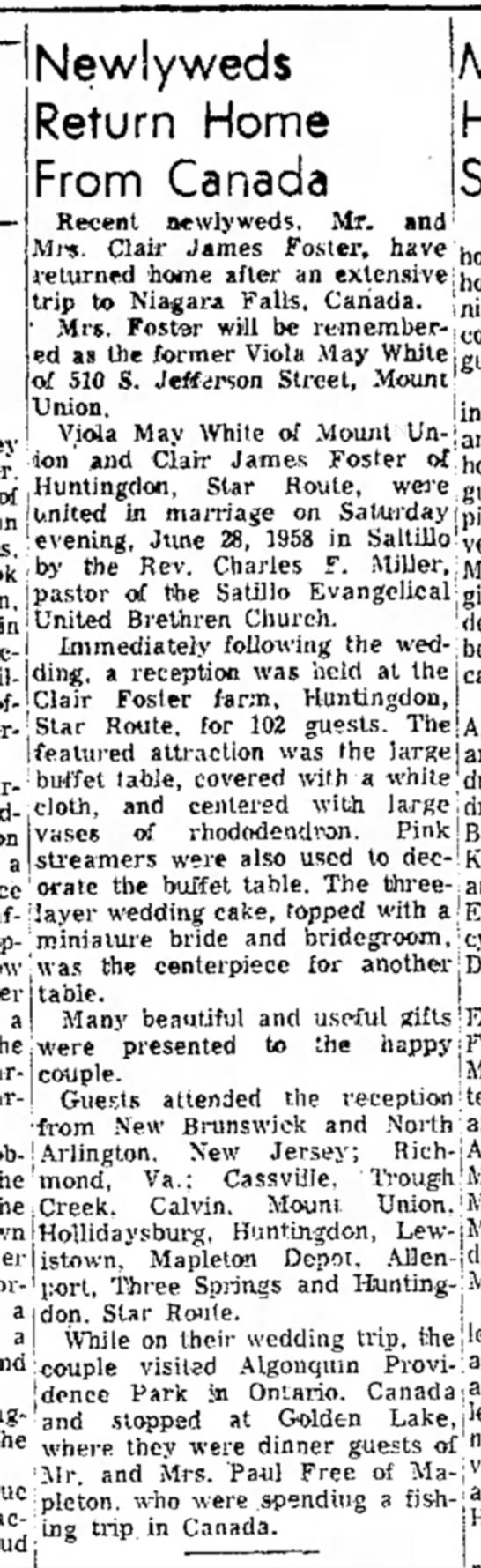 Clair James Foster-newlywed-TDN-p.12-23 Jul 1958