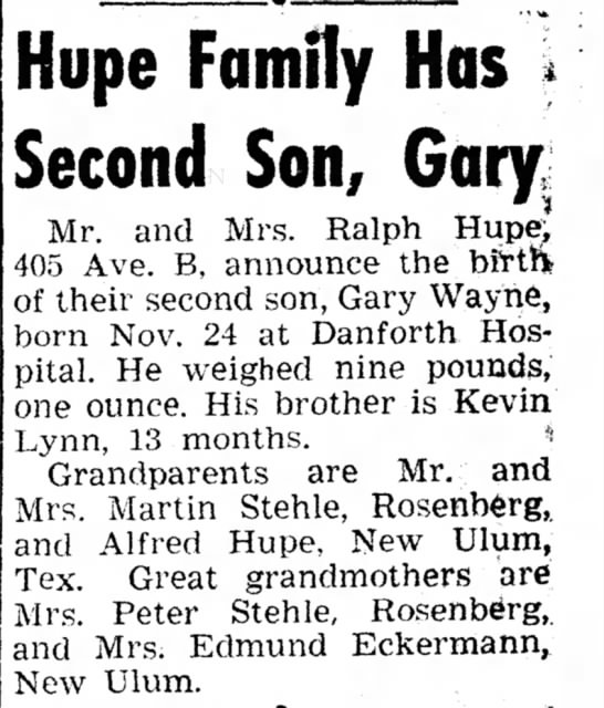 Gary Wayne Hupe birth announcement, The Mainland Times (La Marque, Texas) 6 Dec 1961, pg 3