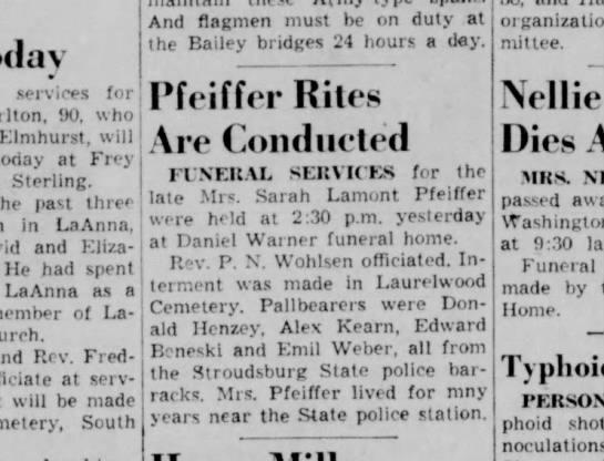 Sarah Lamont  Pfeiffer Obituary 12 Sept 1955 Pocono Record, Stroudsburg,PA