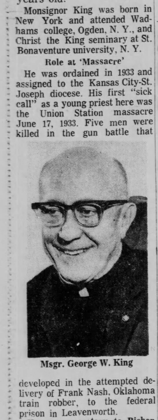 Bishop's first sick call to Union Station Massacre
