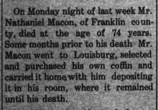 Nathaniel Macon Death (18 Apr 1907, The Graphic, Nashville, NC)