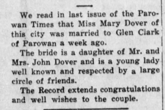 Mary Dover married