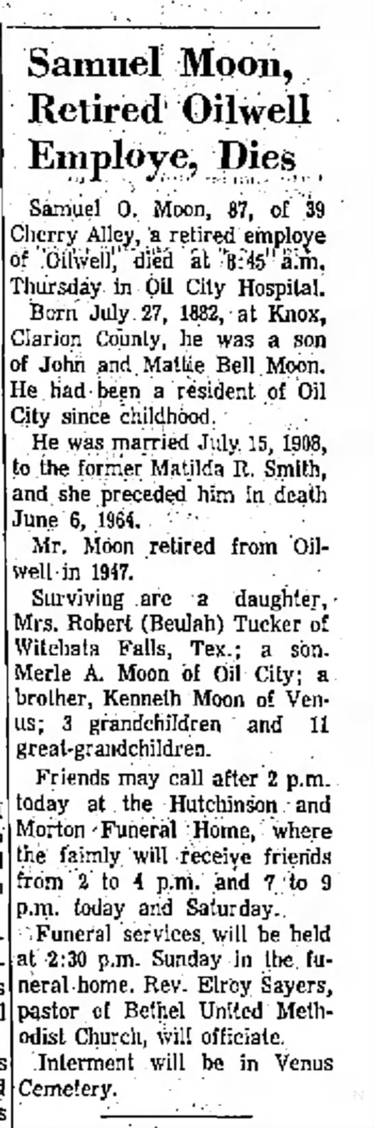 Samuel O Moon obituary April 3 1970 the Oil City Derrick