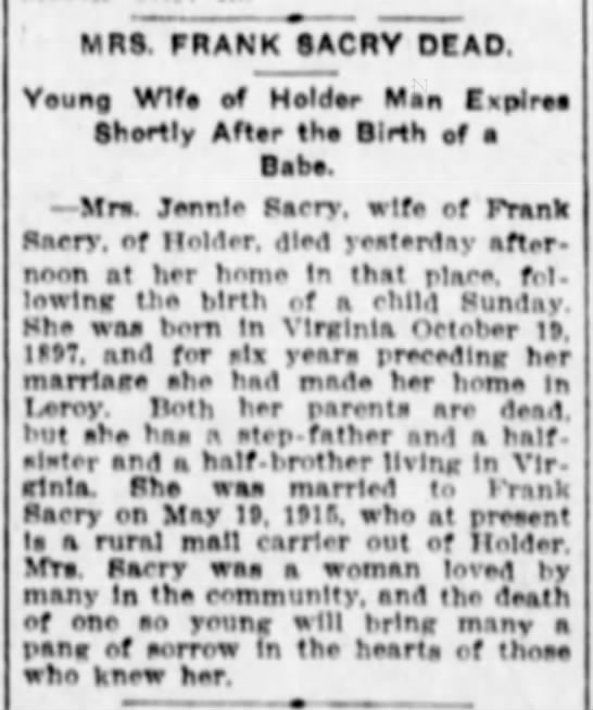 Mrs Frank Sacry obituary