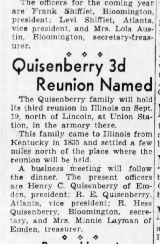 Quisenberry Reunion 3rd Planned