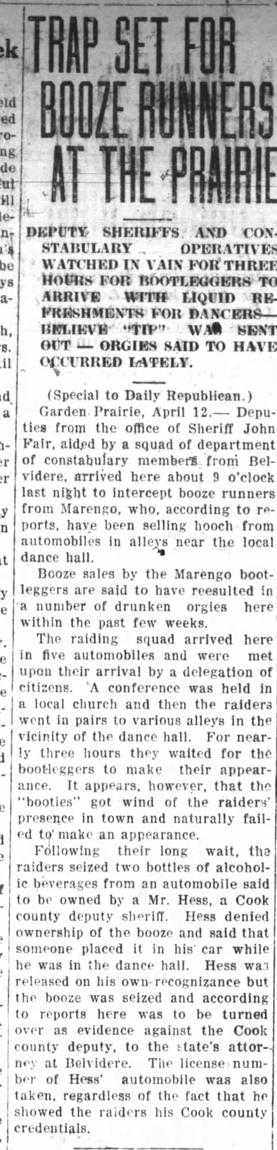 Booze Runners from Marengo at Boone County Dance Hall Republican-Northwester 18 APR 1924