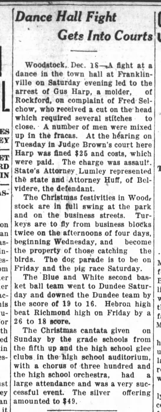 Dance Hall - Franklinville Fights in Court 12 DEC 1923
