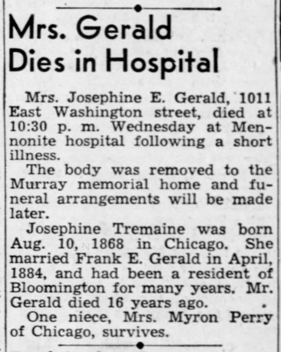 Perry News 1942-12-31 Josephine Tremaine