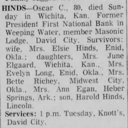 Oscar Hinds Obituary