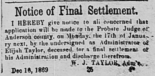 TAYLOR, Elijah & W J_30 Dec 1869_Anderson, South Carolina