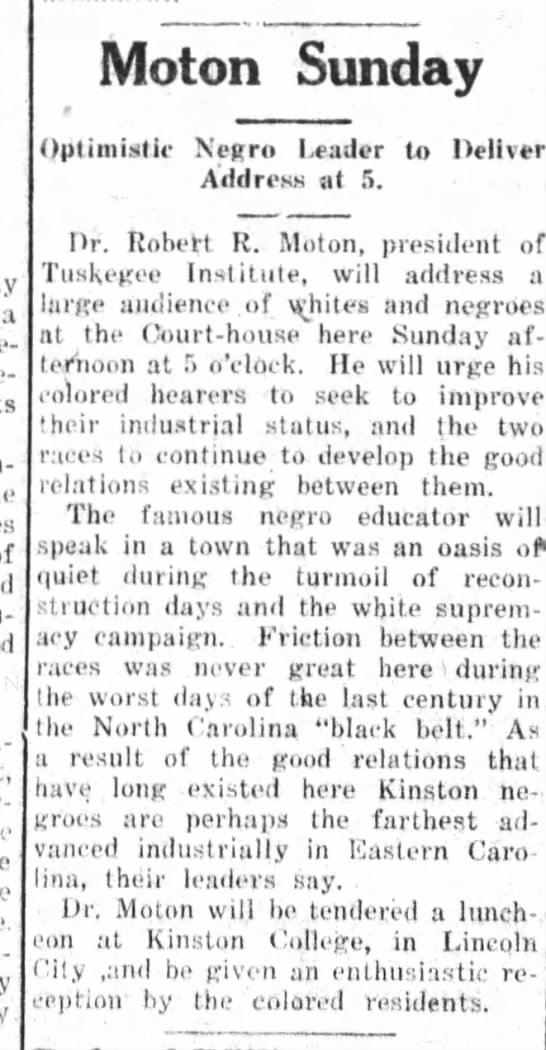 Kinston History   Kinston College Dr. Morton Daily Free Press March 19, 1921 Pg. 1