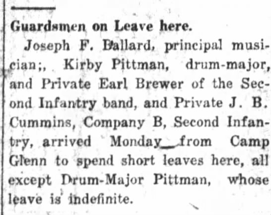"The Daily Free Press (Kinston, NC)   Tues., 8 August 1916   Earl Brewer  ""Guardsmen on Leave Here"""