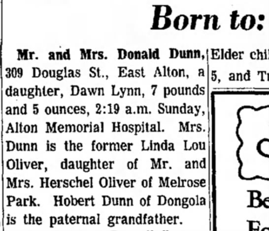 Dawn's birth Announcement - Alton Evening Telegraph 11/23/1964