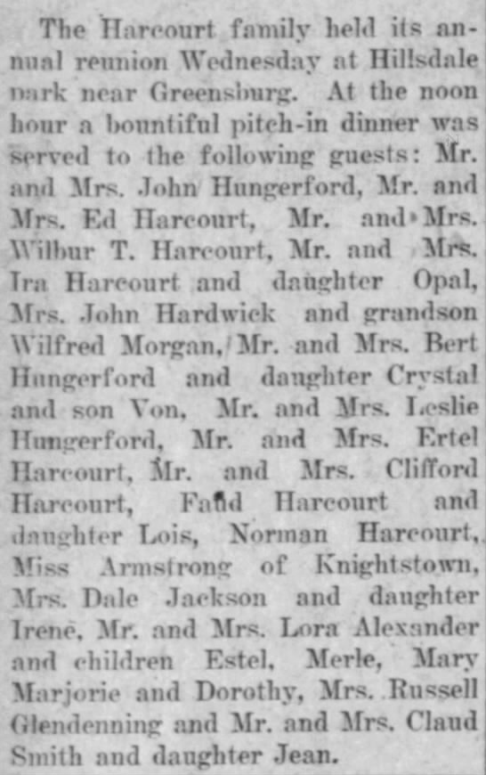 The Harcourt Family Reunion - The Daily Republican (Rushville, IN) 13 Aug 1920, Page 6