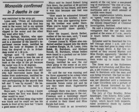 andrea hargis coronor inquest southern illinoisan (carbondale illinois) 1 dec 1982 https://www.newspapers.com/image/82673148/?terms=hargis%2Bandrea