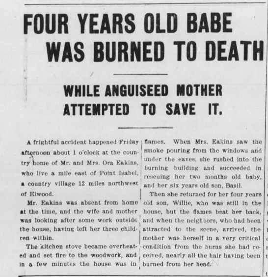 Four years old babe was burned to death