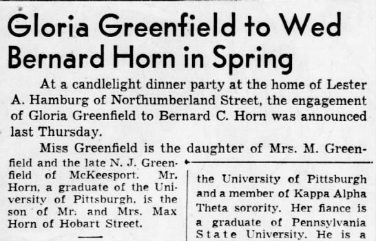 Greenfield - Horn Wedding Announcement in Pittsburgh Post-Gazatte on 10 Mar 1954