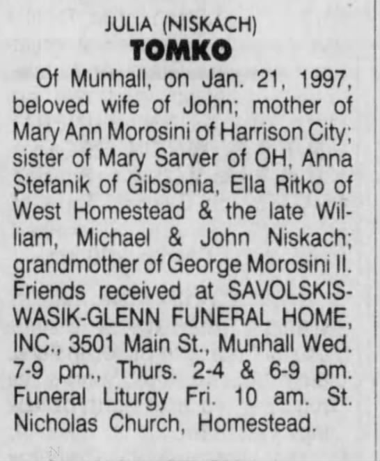 Pgh post gaz Jan 22, 1997 Julia Niskach Tomko obit